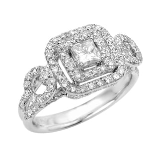 Sterling Silver Moissanite/CZ and 2/5ct TDW Diamond Engagement Ring (G, SI1)