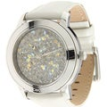DKNY Women's White Leather Crystal Dial Watch