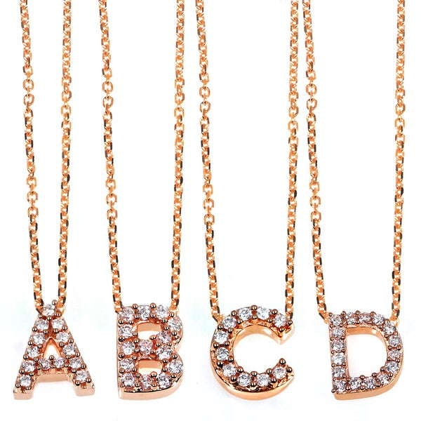 Annello 14k Rose Gold Diamond Accent Mini Initial Letter Necklace