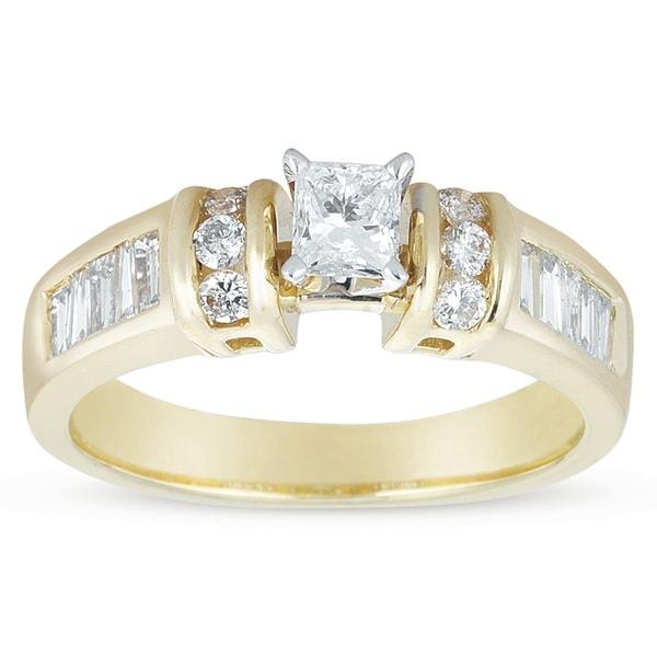 14k Gold 7/8ct TDW Princess-cut Diamond Engagement Ring (I-J, I1-I2)