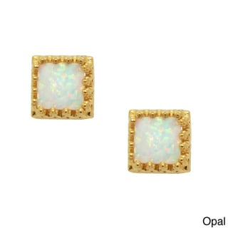 Tiara Collection Goldplated Silver 6mm Square Gemstone Crown Earrings