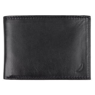 Nautica Men's Genuine Leather Slim Passcase Wallet