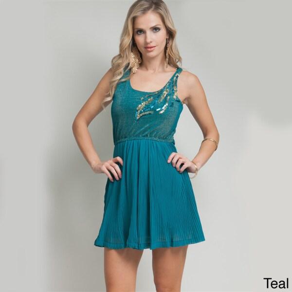 Stanzino Women's Sleeveless Sequin Shoulder Pleated Dress