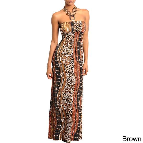Stanzino Women's Animal Printed Beaded Halter Maxi Dress