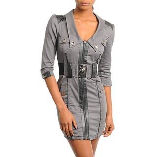 Stanzino Women's Charcoal 3/4-sleeve Zip-front Belted Dress