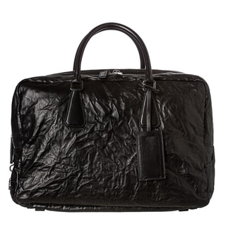Prada Black Antique Nappa Leather Travel Bag