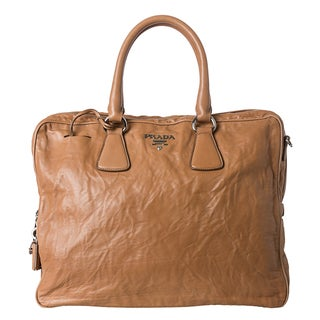 Prada Tan Antiqued Nappa Leather Top Handle Satchel