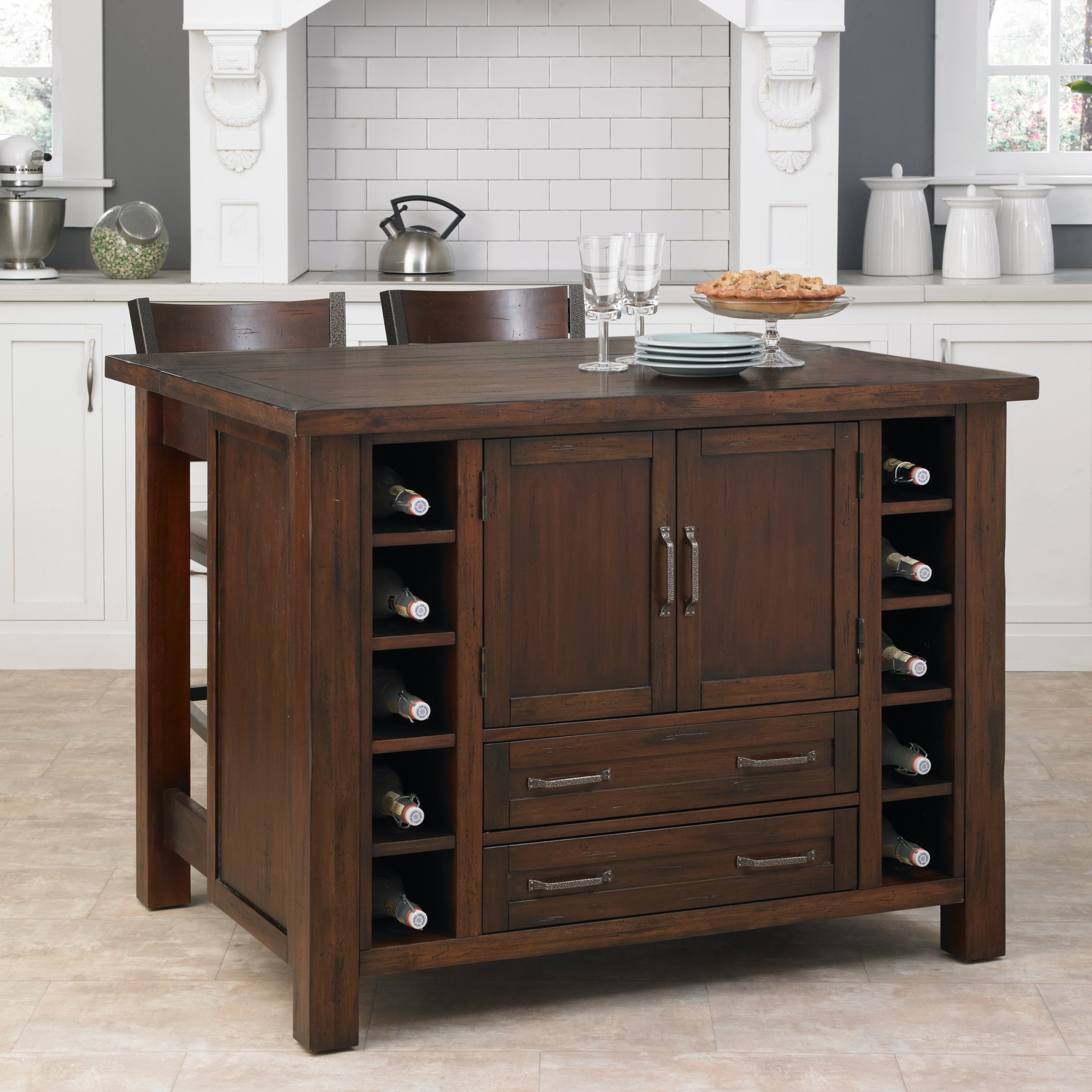 cabin creek kitchen island breakfast bar with two stools