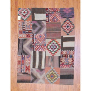 Antique Afghan Hand-woven Tribal Patchwork Kilim Multi-colored Wool Rug (4'11 x 6'7)