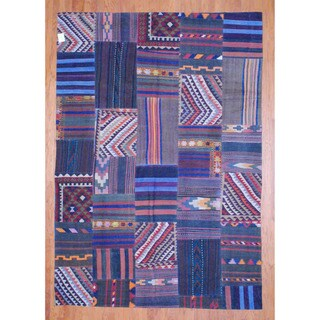 Antique Afghan Hand-woven Tribal Patchwork Kilim Multi-colored Wool Rug (7'11 x 11'3)
