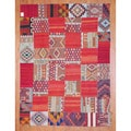 Antique Afghan Hand-woven Tribal Patchwork Kilim Multi-colored Wool Rug (7'7 x 10'3)