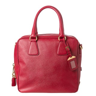 Prada Lux Red Saffiano Leather Satchel