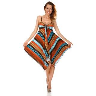 White Mark Women's 'Lisbon' Orange/ Brown Handkerchief Hem Dress