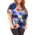 Stanzino Women's Blue Plus-Size Floral-Print Short-Sleeve Top
