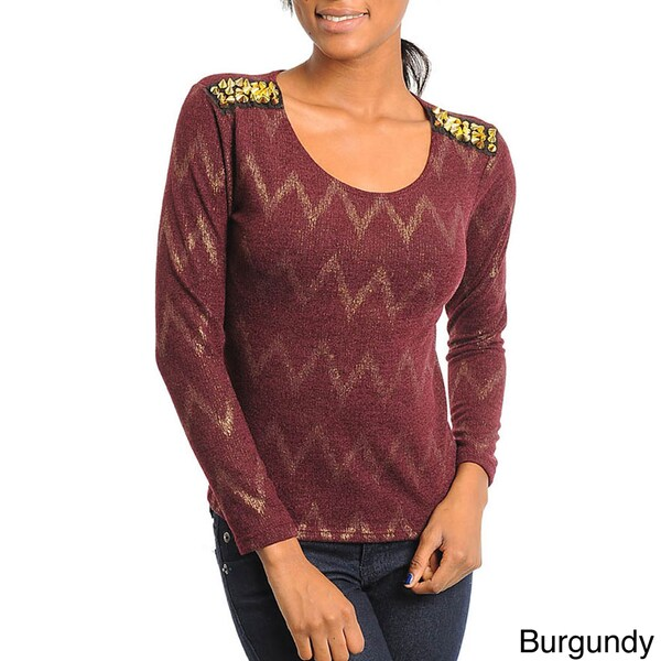 Stanzino Women's Metallic Weave Studded Shoulder Top