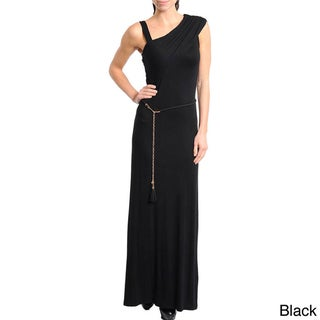 Stanzino Women's Solid Asymmetric Neckline Maxi Dress