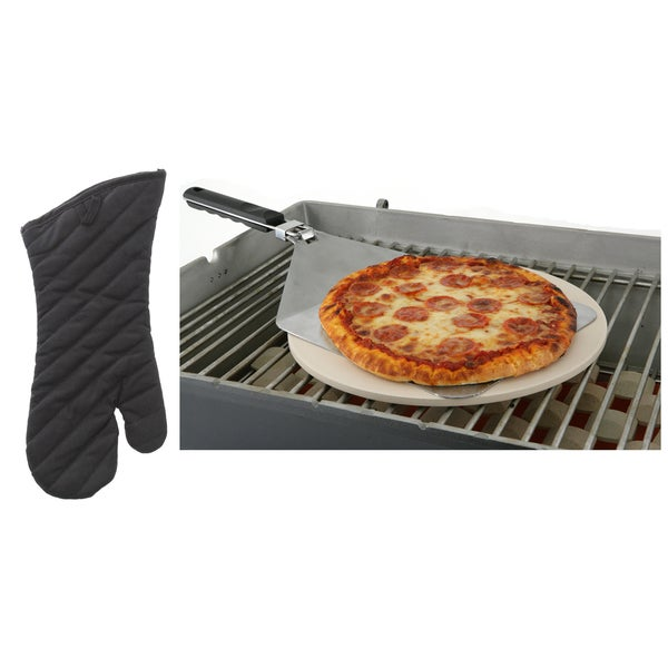Mr. BBQ Pizza Stone Kit with Grilling Mit