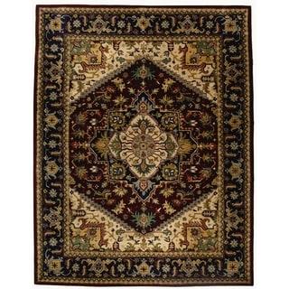 Safavieh Handmade Heritage Heriz Red/ Navy Wool Rug (11' x 16')