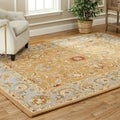 Handmade Heritage Shahi Brown/ Blue Wool Rug (11&#39; x 16&#39;)