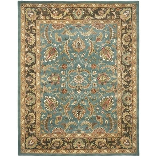 Handmade Heritage Blue/ Brown Wool Rug (11' x 16')