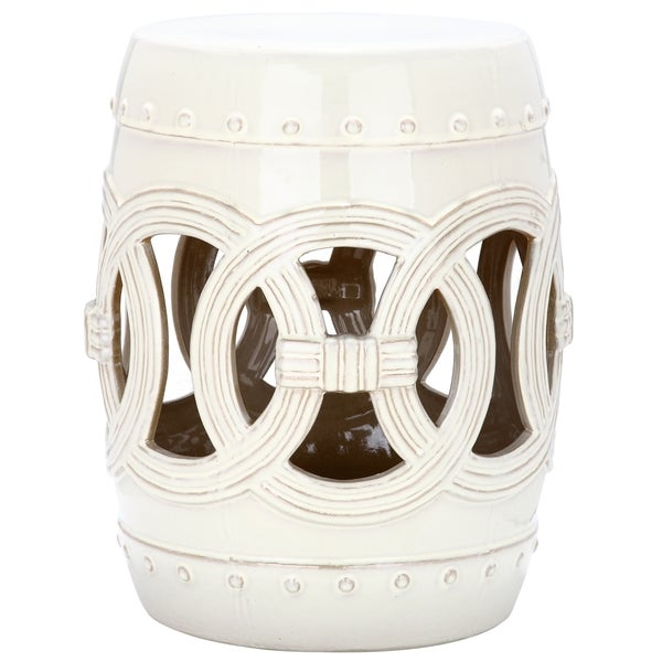 Safavieh Paradise Double Coin Cream Ceramic Garden Stool