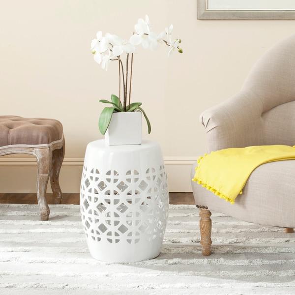 Safavieh Paradise Tranquility White Ceramic Garden Stool