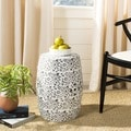 Paradise Scrolls White Ceramic Garden Stool