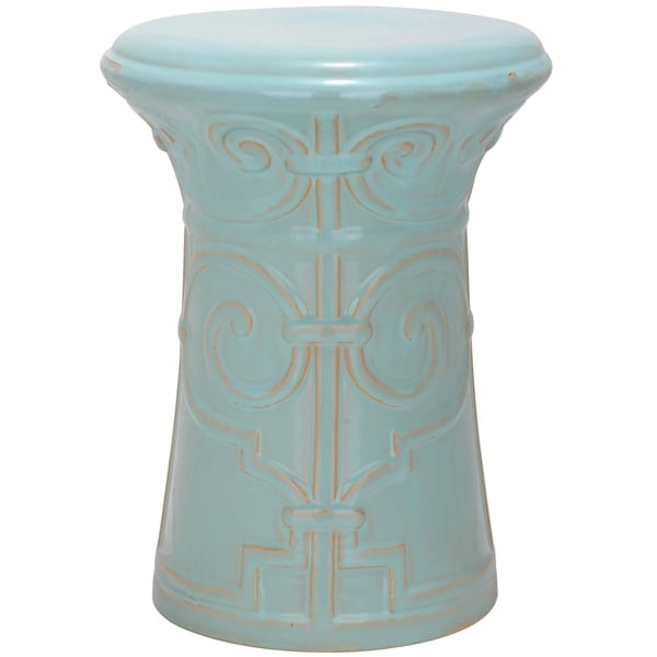 Safavieh Light Aqua Imperial Scroll Ceramic Garden Stool