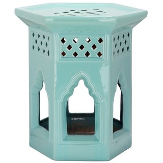 Safavieh Paradise Garden Light Blue Ceramic Garden Stool