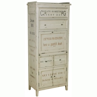 Hand-painted Distressed Antique Cream Finish Accent Storage Cabinet - 5 x 27 x 64