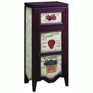 Hand-painted Distressed Cream and Rosewood Finish Accent Chest