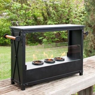 Marino Portable Black Indoor/ Outdoor Gel Fireplace