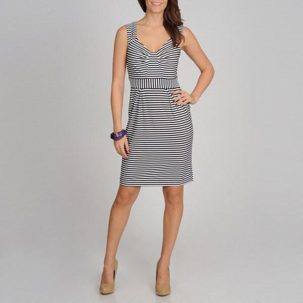 Sophia Christina Women's Black and White Striped Casual Dress