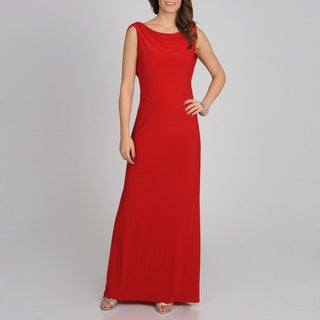 NW Nightway Women&#39;s Red Draped Back Gown