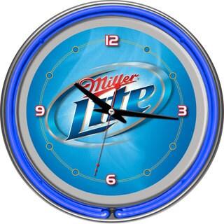 Miller Lite 14-inch Neon Wall Clock Vapor Design