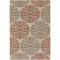 Five Seasons Montecito Cream/ Coral Red Rug (5'3 x 7'6)