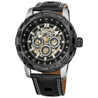 Akribos XXIV Men's Automatic Multifunction Leather Strap Stainless-Steel Watch