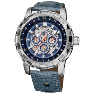 Akribos XXIV Men's Automatic Blue Leather Strap Watch