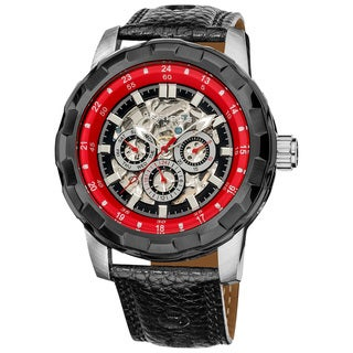 Akribos XXIV Men's Automatic Multifunction Leather Strap Watch with Tang Buckle