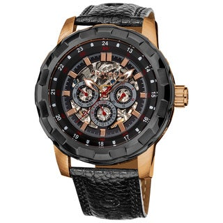 Akribos XXIV Casual Men's Automatic Multifunction Leather Strap Watch