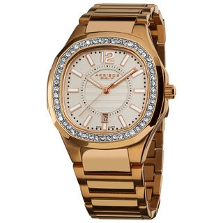 Akribos XXIV Women's Rose-Tone Swiss Quartz Stainless-Steel Crystal Bracelet Watch