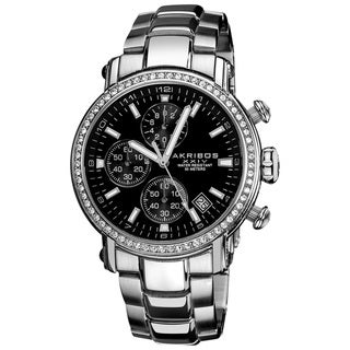 Akribos XXIV Men's Stainless-Steel Silvertone Crystal Chronograph Watch