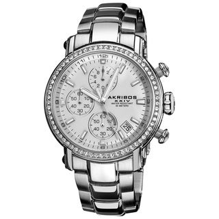 Akribos XXIV Men's Stainless Steel Crystal Chronograph Watch
