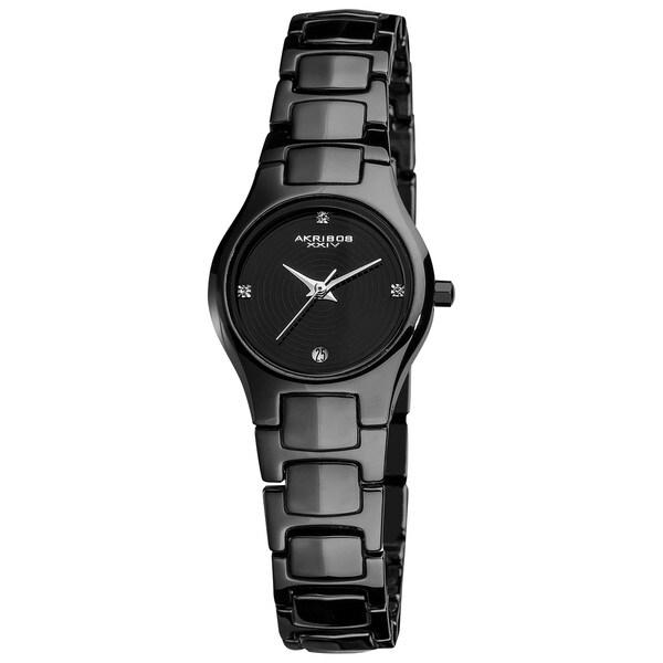Akribos XXIV Women's Slim Black Ceramic Quartz Bracelet Watch