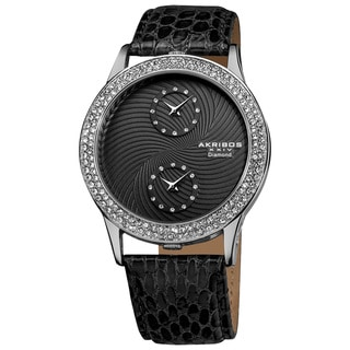 Akribos XXIV Women's Diamond Dual Time Swiss Quartz Black Leather Strap Watch