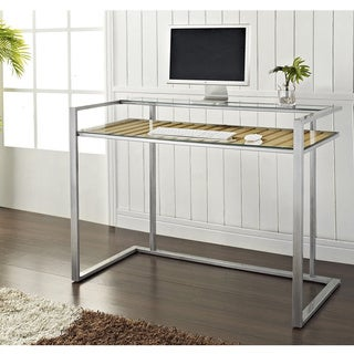Silver Metal and Glass Executive 48-inch Desk