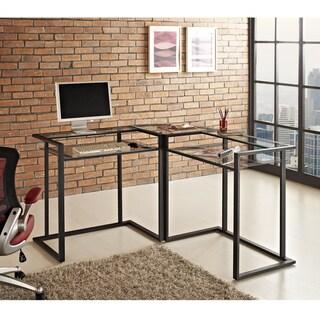 Black Metal and Glass Corner Computer Desk