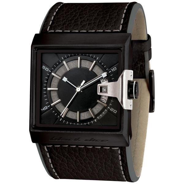 Black Dice Men's Grind Black Leather Strap Quartz Watch