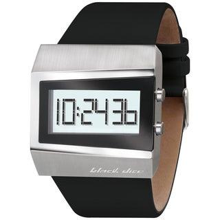 Black Dice Men's Black Leather Strap Digital Watch