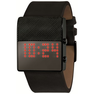 Black Dice Men's Gamer Black Leather Strap Digital Watch